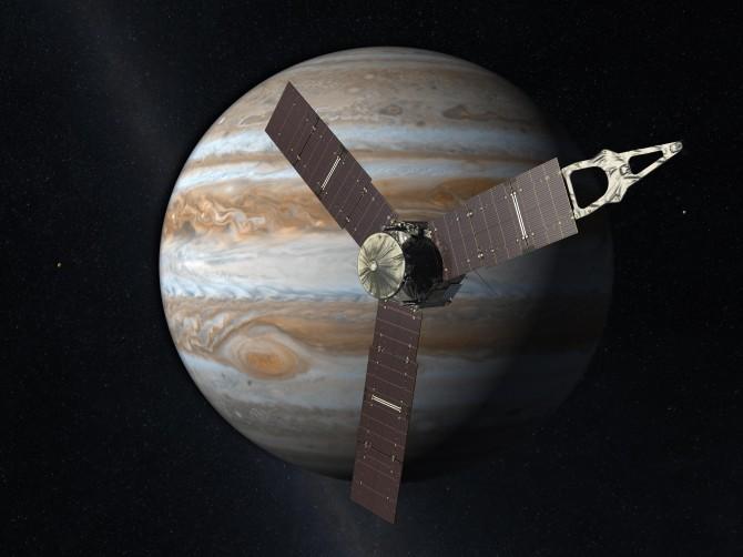 미국항공우주국(NASA)이 그린 목성과 주노의 상상도. - 미국항공우주국(NASA) 제공